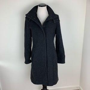 Zara Wool Long Hooded Pea Coat Gray Size Large